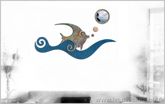 Escultura de Pared Mar de Sueños